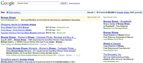 Google Search for Bronze Shoes