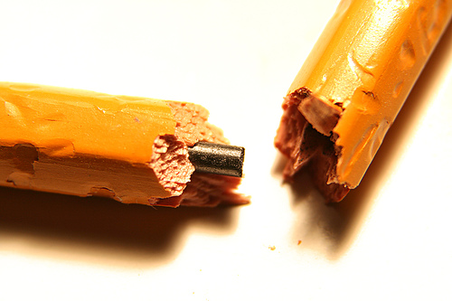 frustrated snapped pencil