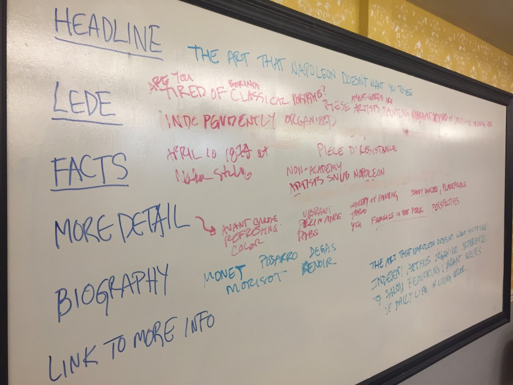example white board break down of an artist press release