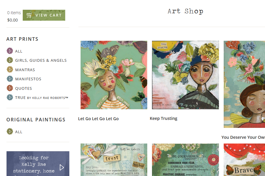 Kelly Rae Roberts shop page